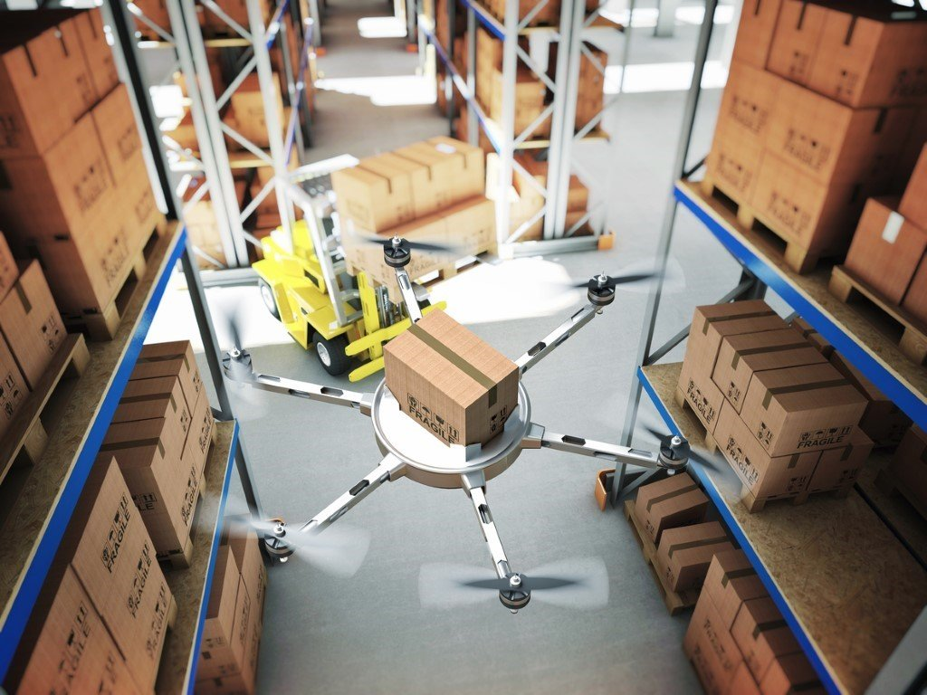 Drone carrying box in warehouse